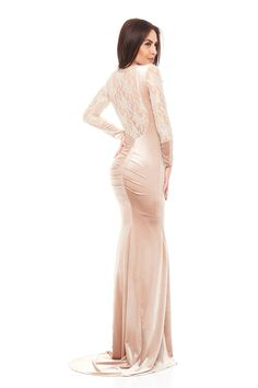 LaDonna Elegant Appear Cream Dress Lace Detail, Velvet, Cream, Elegant, Formal Dresses, Party, Fabric, Collection, Fashion