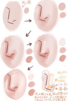 Digital Painting Tutorials, Digital Art Tutorial, Art Tutorials, Digital Paintings, Nose Drawing, Gesture Drawing, Drawing Faces, Drawing Hair, Drawing Reference Poses