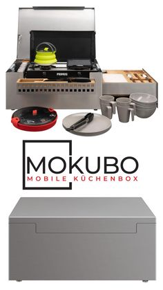 The MOKUBO is the mobile kitchen solution for all vehicles. The compact box (WxDxH: 60 x 40 x 27 cm) finds its place in every camper, SUV or SUV. The MOKUBO is a mobile kitchen that has a lot to offer Trailers Camping, Vw Camping, Minivan Camping, Best Camping Gear, Camping Hacks, Chuck Box, Kombi Motorhome, Campervan, Shopping