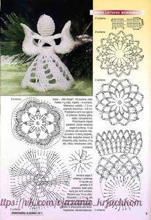 I use always little styrofoam ball inside the crocheted head.DIY - zrób to sam na Stylowi. Christmas Crochet Patterns, Crochet Christmas Ornaments, Holiday Crochet, Crochet Snowflakes, Christmas Angels, Christmas Crafts, Crochet Diy, Thread Crochet, Crochet Motif