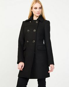 Wool Blend Double Breasted Coat