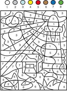 coloriage Jeu de coloriage numéroté : chiffres et mer n°1