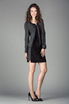Ensemble robe et veste city chic. Mélange de matières et détails côté. Collection Nina et Moi