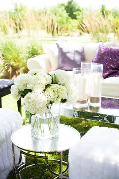 Chic lavender and white lounge.   Read more - http://www.stylemepretty.com/2013/07/31/bear-flag-farm-from-kristy-weldon/