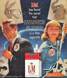 A Smokin' Campaign L Cigarettes 1960 Yes, a cigarette can do wonders! LOL