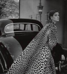 Photo by F.C. Gundlach, 1954, Lo Olschner, ocelot coat by Berger, Hamburg.
