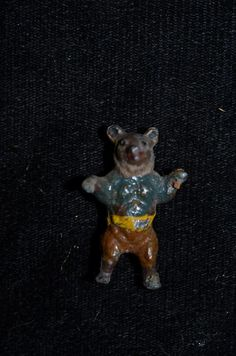 Old Teddy Bear Miniature Dollhouse Metal Painted CUTE