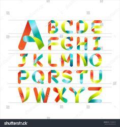 Ribbon alphabet colorful font, Capital letter A, B, C, D, E, F, G, H, I, J, K, L, M, N, O, P, Q, R, S, T, U, V, W, X, Y, Z. Vector illustration.