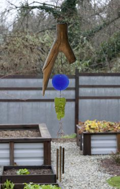 Wind Chime Natural Driftwood Sea Glass Brass Chimes
