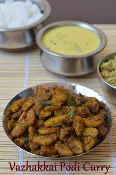 Vazhakkai can be cooked in many different ways. You could prepare a simple thoran, or use it in combination with yam or use it in ko. Banana Recipes Indian, Indian Vegetable Recipes, Indian Vegetarian Dishes, Indian Side Dishes, Rice Side Dishes, Veg Dishes, Vegetarian Recipes Easy, Vegetarian Cooking, Curry Recipes