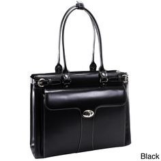 Carry your computer in style in this elegant and chic leather laptop tote. This tote features a separate file divider in the main compartment, an interior zip pocket, and a front organizer, so you can easily stay organized on the go.