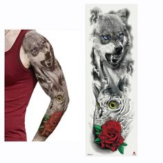 2018 New Full Flower Arm Tattoo Sticker Skeletons And Roses Temporary Body Paint Water Transfer Tattoo Sleeve Arm Tattoo, Flower Tattoo Arm, Body Art Tattoos, Hand Tattoos, Sleeve Tattoos, Large Temporary Tattoos, Tattoo Sticker, Tattoo Designs, Tattoo Transfers
