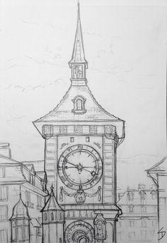 Urban Art 'The Zytglogge clock tower, Bern, Switzerland. Clock Drawings, Art Drawings Sketches Simple, Landscape Drawings, Cool Art Drawings, Pencil Art Drawings, Architecture Drawing Sketchbooks, Architecture Art, Architecture Concept Drawings, Art Du Croquis