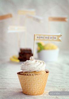 Cupcake Flags, Free Wedding Printables