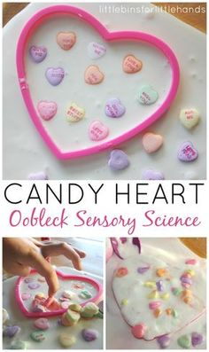 Candy Hearts Oobleck Science Sensory Play (from Little Bins for Little Hands)
