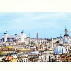 Cathedral spikes and chariots atop Piazza Venezia dot the skyline in #Rome. Photo courtesy of brandenphughes on Instagram.