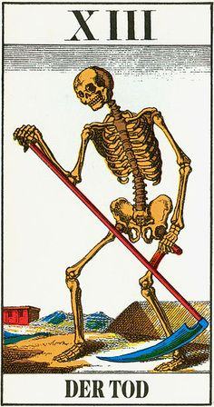 An old tarot Death card from Germany depicts a reaper