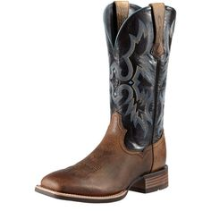 Ariat Men&39s Fast Time Coffee Cowboy with Blue Hurricane Top Double