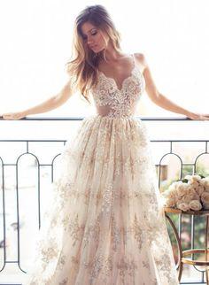 Vestido de Novia Blanco/Marfil Encaje Vestido para Boda Forrado De Una Playa Boho Personalizado Talla