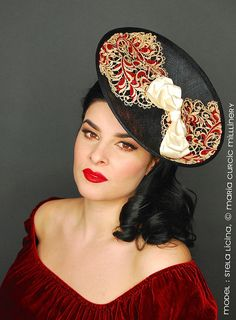 Kentucky Derby red and cream lace with large satin bow for Sinamay Hats cd8a25568f5b