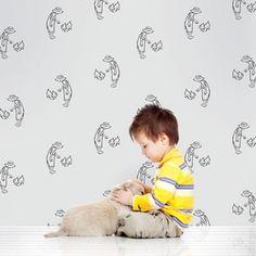 Kids Teen Wallcandy Arts Fetch Gray and Black Wallpaper Half Kit Room Playroom Grey Wallpaper, Modern Wallpaper, Kids Wallpaper, Vinyl Wallpaper, Peel And Stick Wallpaper, Designer Wallpaper, Wall Candy, Candy Art, Wall Sticker