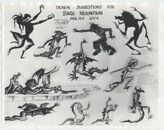 auction.howardlowery.com: Disney FANTASIA Animation Model Sheet of CHERNABOG's DEMONS for NIGHT ON BALD MOUNTAIN, 1940s