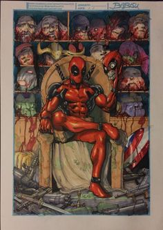 Deadpool , in Francis Chervenak& Art for Sale Comic Art Gallery Room Marvel Vs, Marvel Heroes, Marvel Comics, Marvel Comic Character, Marvel Characters, Comic Books Art, Comic Art, Deadpool Fan Art, Comic Villains