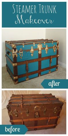 Incredible steamer trunk makeover takes this vintage trunk from blah to bold!