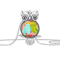 """Susenstone Owl Pendant Necklace Jewelry Vintage Newest Glass Cabochon Necklace. Susenstone is a registered trademark and the only authorized seller of susenstone branded products. Quantity: 1PC Gender: Women, Girl. Style: Fashion Material: Alloy. Length: 46cm/18.11"""" Pendant Size: 25mm Color:Silver. Nice accessories to integrate jewelry case for girls and collectors Match with suitable apparel for different occasion."""