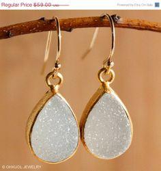 SALE White Agate Druzy Quartz Teardrop Earrings - Simple Earrings - Gold or Silver
