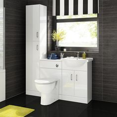 Design your complete bathroom with our Gloss White Bathroom Furniture units, which are sure to add a WOW factor to any bathroom, providing both a sleek and space saving solution. Bathroom Storage Units, Bathroom Sink Cabinets, Bathroom Vanity Units, Bathroom Layout, Vanity Sink, Small Bathroom, Storage Cabinets, Rv Bathroom, Bathroom Plumbing