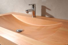 Model shown: Oregon Pine. Size: 1050x 540 x 130 mm (lxdxh). Delivery time: standard sizes wooden sinks 3-10 weeks after order. Model #FerdinandBol is very suitable for larger bathrooms because of it's size. The model is milled both top and bottom. The chosen way of bonding and milling forms a circle around the floor drain. Follow us on Twitter @VWDutchDesign.