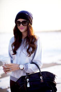 Casual style- gray sweatshirt, large sunnies, oversized black bag, beanie & yummy Starbuck's<3