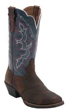 Justin® Stampede Collection™ Ladies Dark Brown w/Denim Top Punchy Toe Western Boot | Cavender's