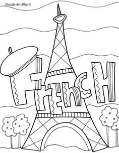 Enjoy some school subject coloring pages. These are great to use as binder covers or packet cover pages at school. They also add to bulletin boards. French Flashcards, French Worksheets, Flag Coloring Pages, Coloring Books, Binder Covers Free, School Book Covers, Front Page Design, Holiday Homework, French Pictures