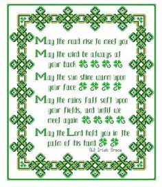 Irish Grace - cross stitch pattern designed by Muffy. Celtic Cross Stitch, Cross Stitch Samplers, Cross Stitching, Wedding Cross Stitch Patterns, Counted Cross Stitch Patterns, Cross Stitch Designs, Irish Blessing, Cross Stitch Alphabet, Embroidery Patterns