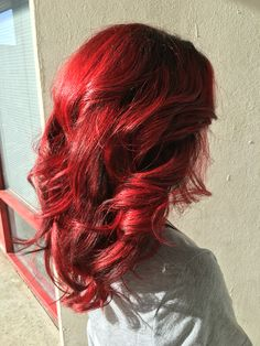 Red hair, bright red hair, balayage hair, cherry red hair, vibrant red hair, hair painting, dimensional red hair, @hairbyjayleen