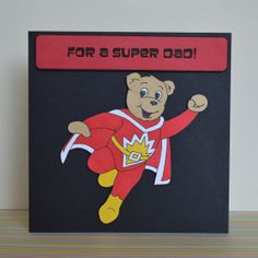 Super Ted Father's Day Card Hand Drawn Fun 2D Card by ClazaInk, £3.00