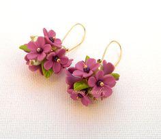 Flower Dangle Earrings, Spring Earrings, Handmade Earrings, Flower Jewelry, Violet Earrings, Floral Fashion, Clay Flowers, Gift For Her