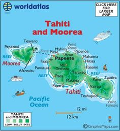 Tahiti and Moorea large color map by World Atlas Tahiti Vacations, Romantic Vacations, Romantic Travel, Papeete Tahiti, Moorea Tahiti, Miss Tahiti, Tahiti French Polynesia, Maldives, Polynesian Islands