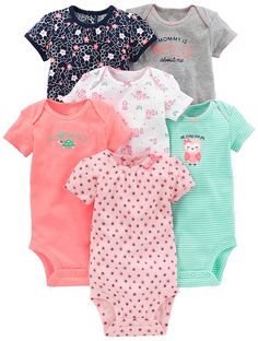 Amazon.com: Simple Joys by Carter's Baby Girls' 6-Pack Short-Sleeve Embellished Bodysuit: Clothing