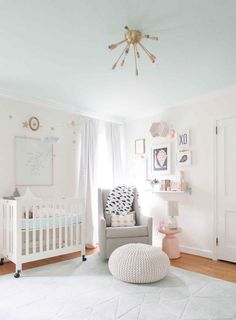 lay baby lay pastel baby room reveal. featuring our metallic knit cotton pouf.