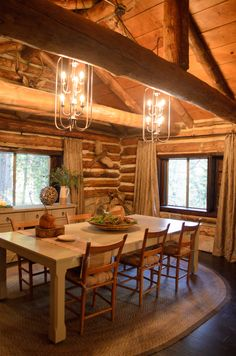 This cabin inspired dining room is stunning! #DreamBuilders