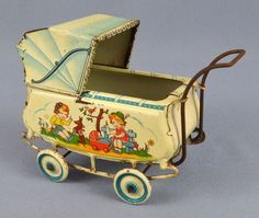 Antique German Girls Dog Litho Tin Baby Buggy Carriage Stroller Pram Toy Marked | eBay