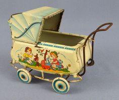 Antique German Girls Dog Litho Tin Baby Buggy Carriage Stroller Pram Toy Marked | eBay