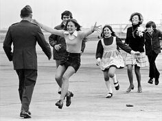 Released prisoner of war Lt. Col. Robert Stirm is greeted by his family at Travis Air Force Base in Fairfield, California on March 17, 1973, as he returns home from the Vietnam War