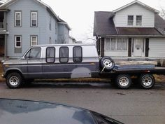 Van with truck bed and extra axle