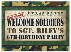 Army Men Welcome Sign - DIY PRINTABLE FILE - Boys Birthday Party
