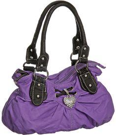 Love the rhinestone heart! Hobo Purses, Cute Purses, Hobo Handbags, Purses And Handbags, Big Purses, Purple Love, All Things Purple, Purple And Black, Purple Stuff