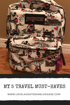 Read more to see what I think are the essential travel items for families.  My items include this JanSport Disney backpack!